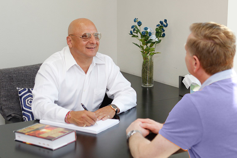 Person getting counseling
